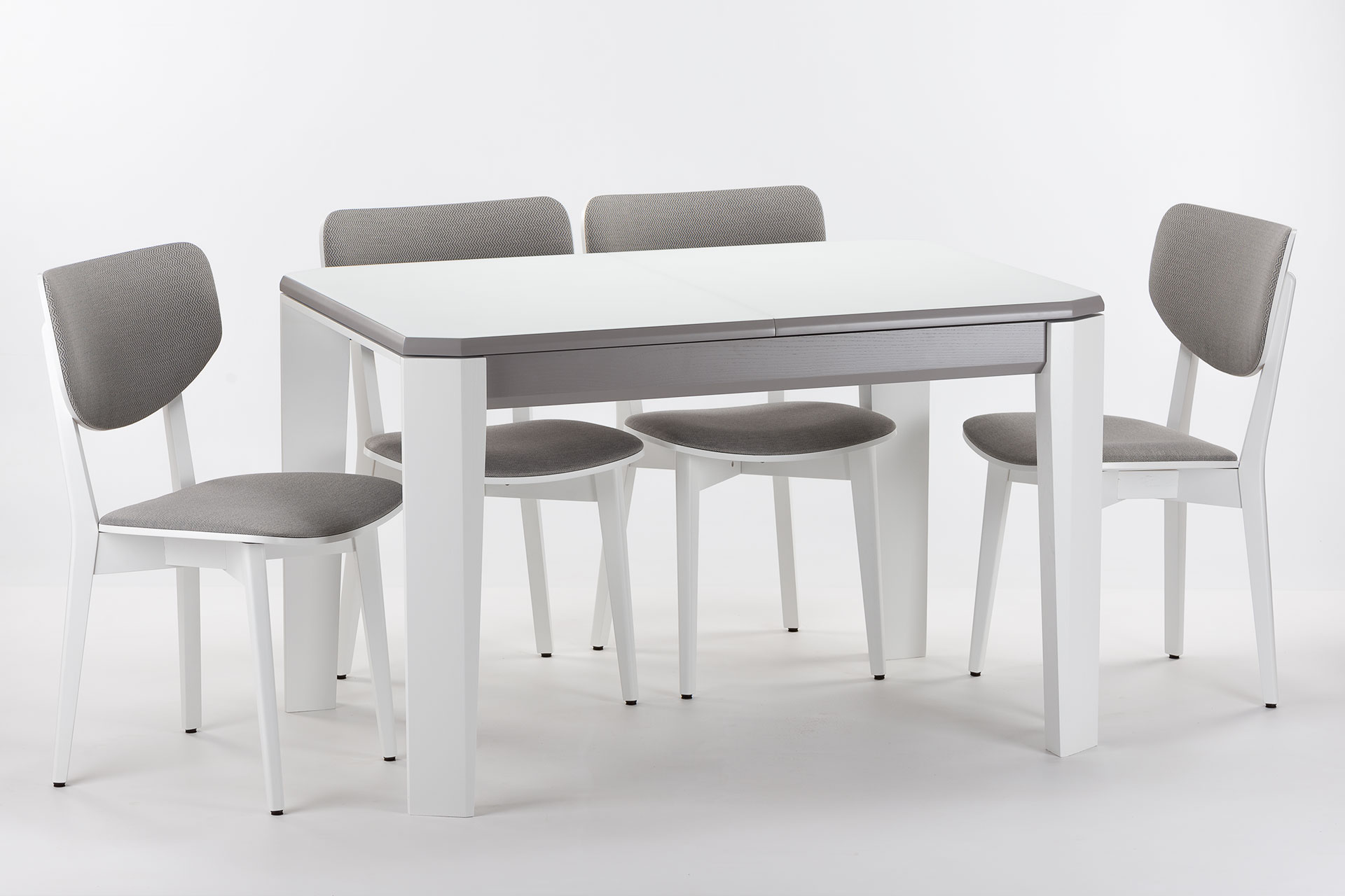 """Обеденная группа, кухонный комплект: раскладной стол """"Варгас"""" с белой стеклянной столешницей + 4 стула 03А с мягкой спинкой и сиденьем Exim Siesta 90"""