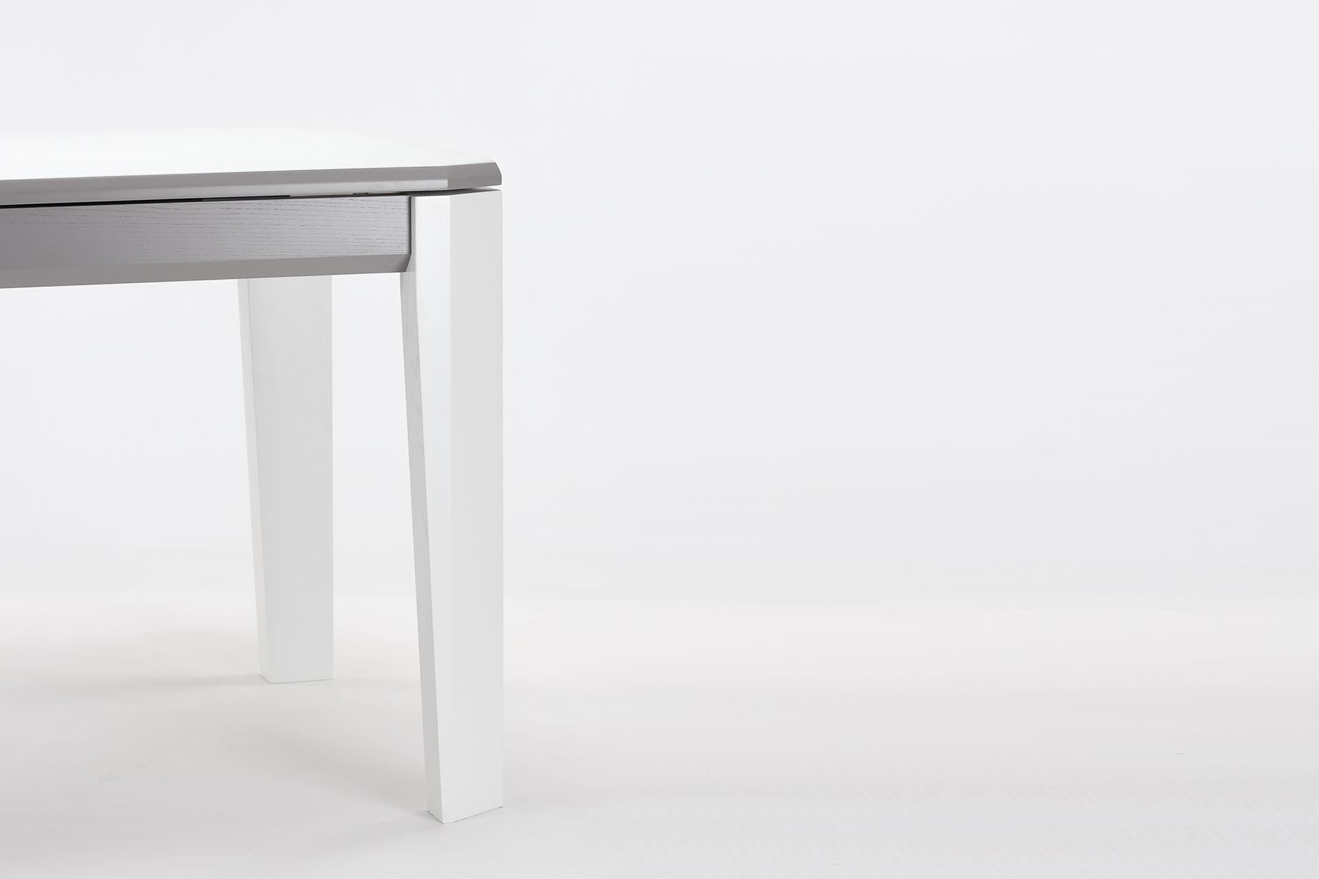 """Угол кухонного стола """"Варгас"""" с белой стеклянной столешницей, серой вставкой столешницы, белыми ножками, твердое дерево"""