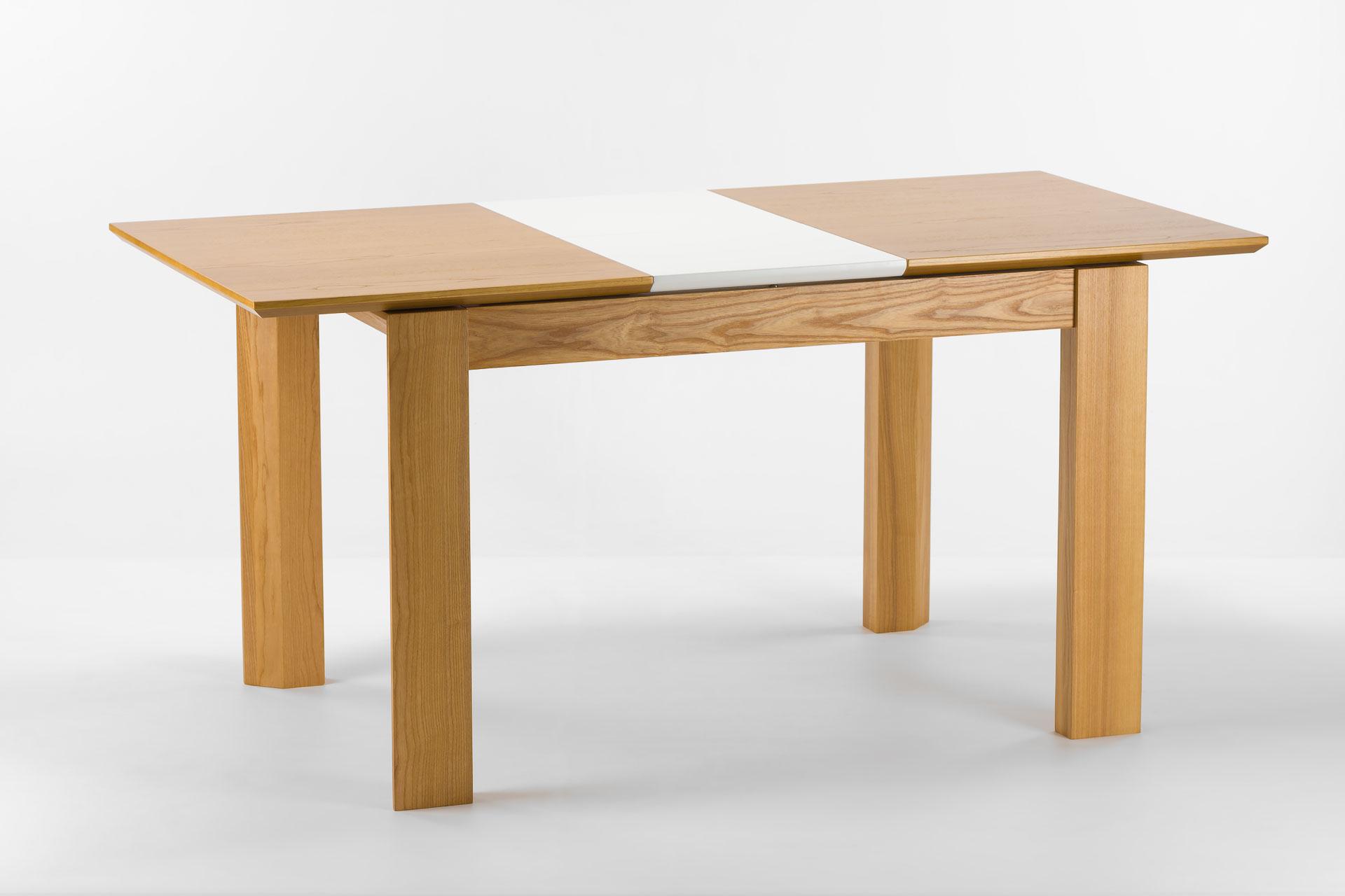 """Кухонный стол """"Милан-люкс"""" со шпонированной столешницей SE1405 и белой вставкой, разложенный"""