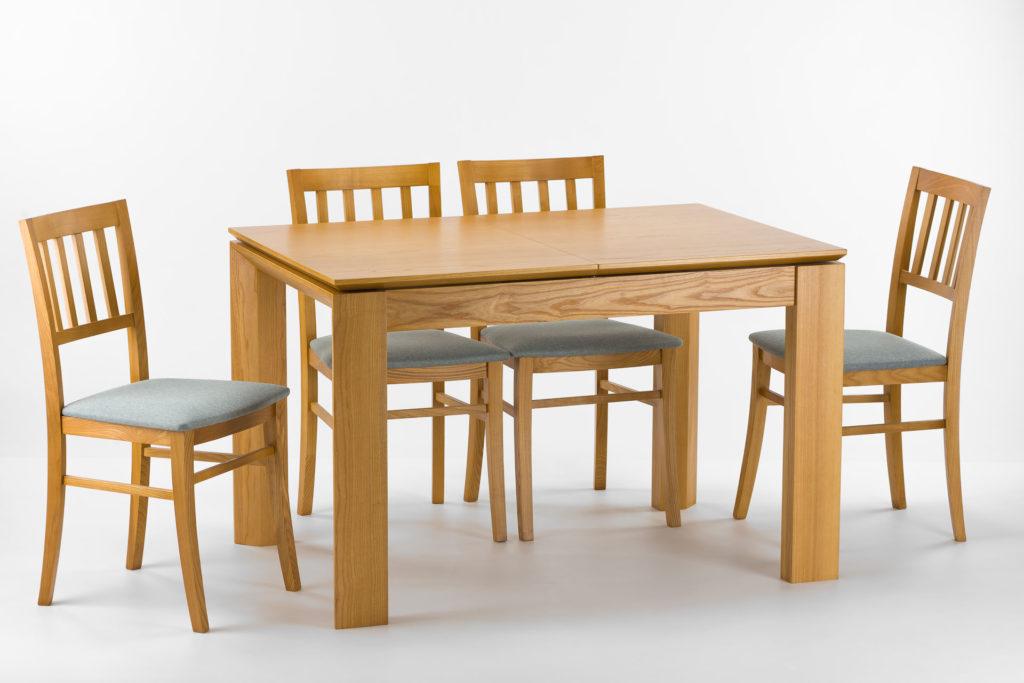 """Кухонный комплект: стол """"Милан-люкс"""" (шпонированная столешница) цвет каркаса и столешницы SE1405, цвет дополнительной вставки RAL 9003 + 4 стула 08МВП с серым мягким сиденьем, оббивка Exim Malmo. Твердое дерево."""