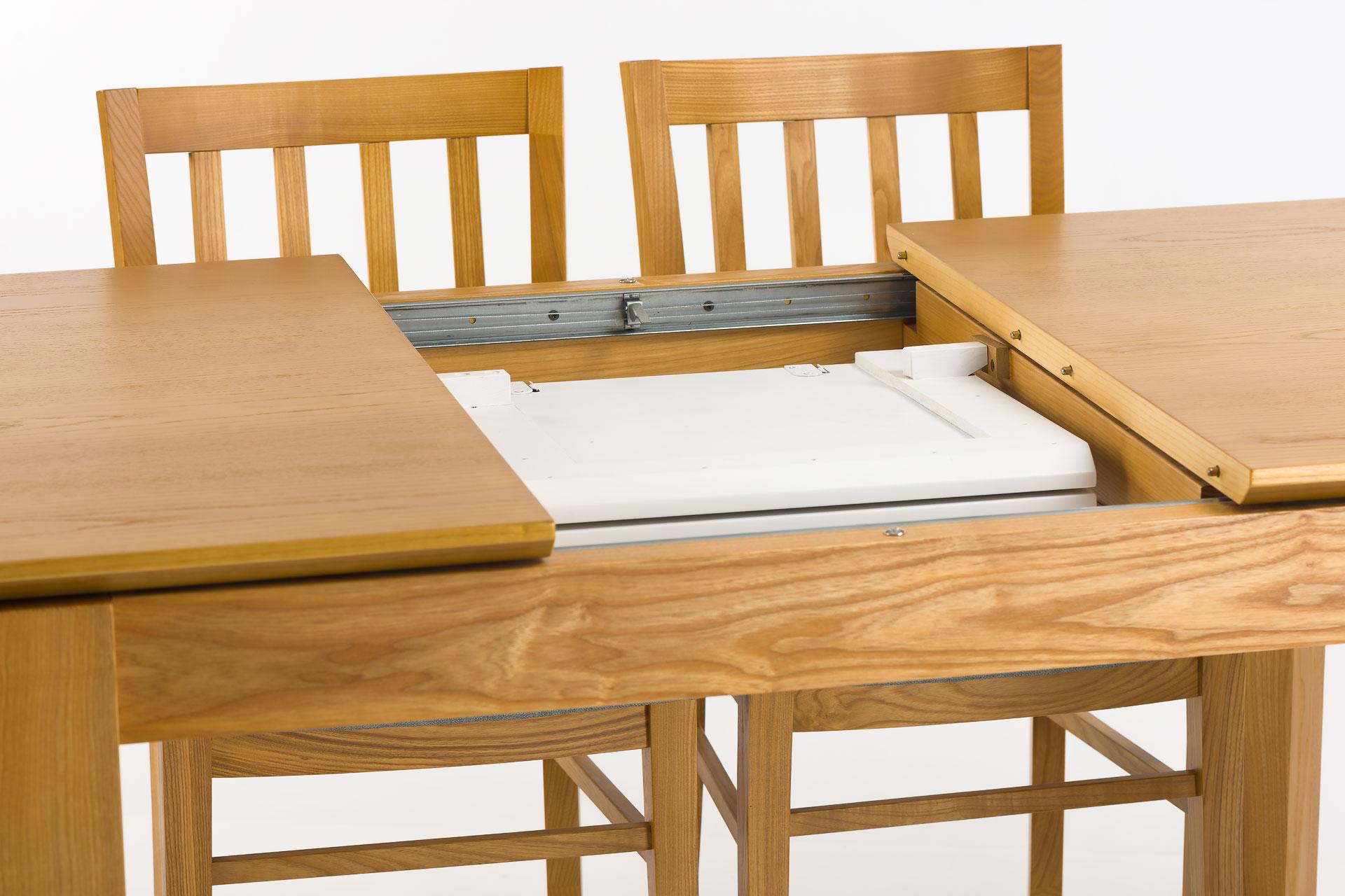 """Кухонный стол """"Милан-люкс"""" со шпонированной столешницей SE1405 и белой вставкой, механизм раскладки"""