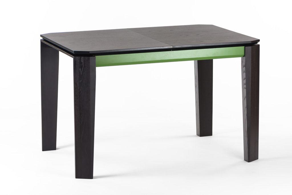 """Розкладний кухонний стіл """"Варгас"""" чорно-зелений, шпонована стільниця, тверде дерево, колір виробу SE7059 / Царга RAL 6011"""