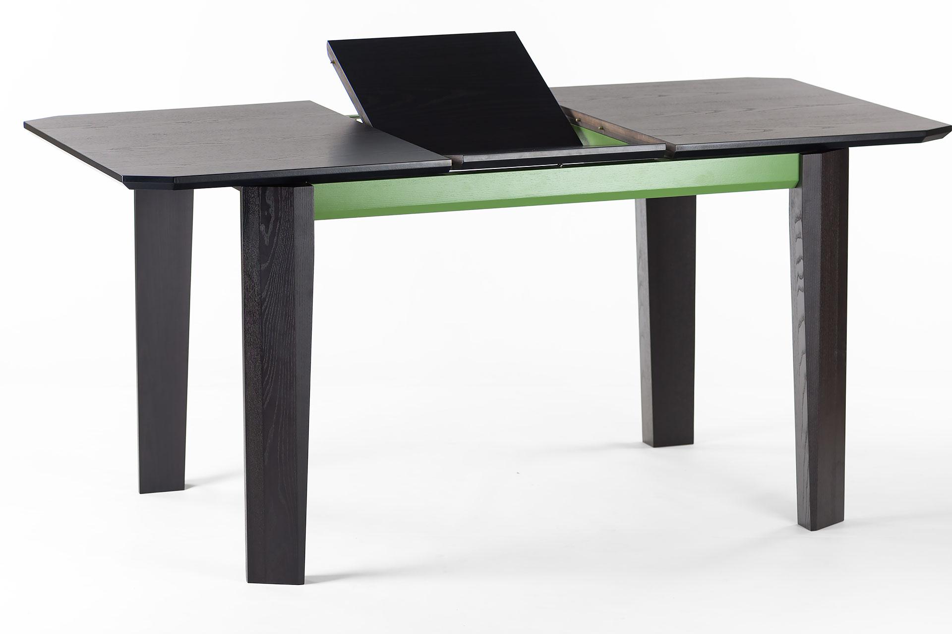 """Раскладной кухонный стол """"Варгас"""" черно-зеленый, шпонированная столешница, твердое дерево, цвет изделия SE7059 / Каркас RAL 6011 (вставка +40 см)"""