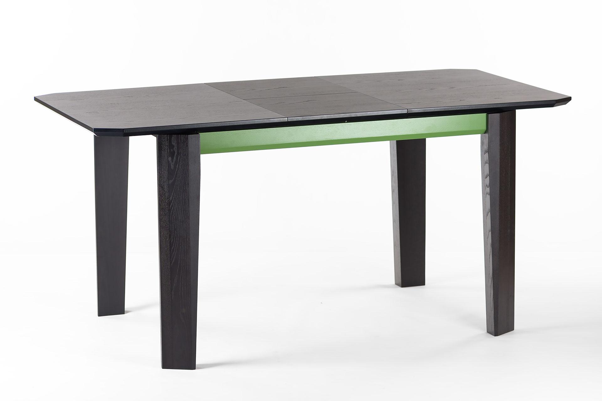 """Раскладной кухонный стол """"Варгас"""" черно-зеленый, шпонированная столешница, твердое дерево, цвет изделия SE7059 / Каркас RAL 6011 (разложенный)"""
