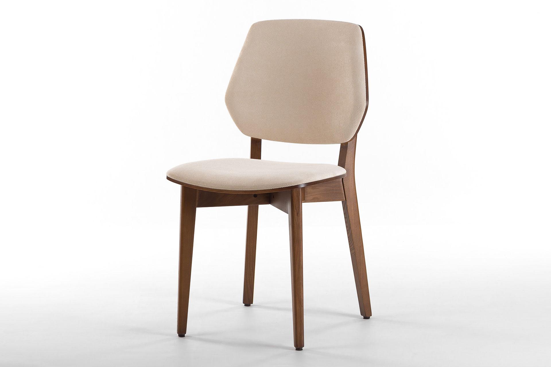 Кухонный стул 03А с мягкими сиденьем и спинкой, оббивка - рогожка Unitex Honey lt Beige • OLEKSENKO Столы и Стулья •