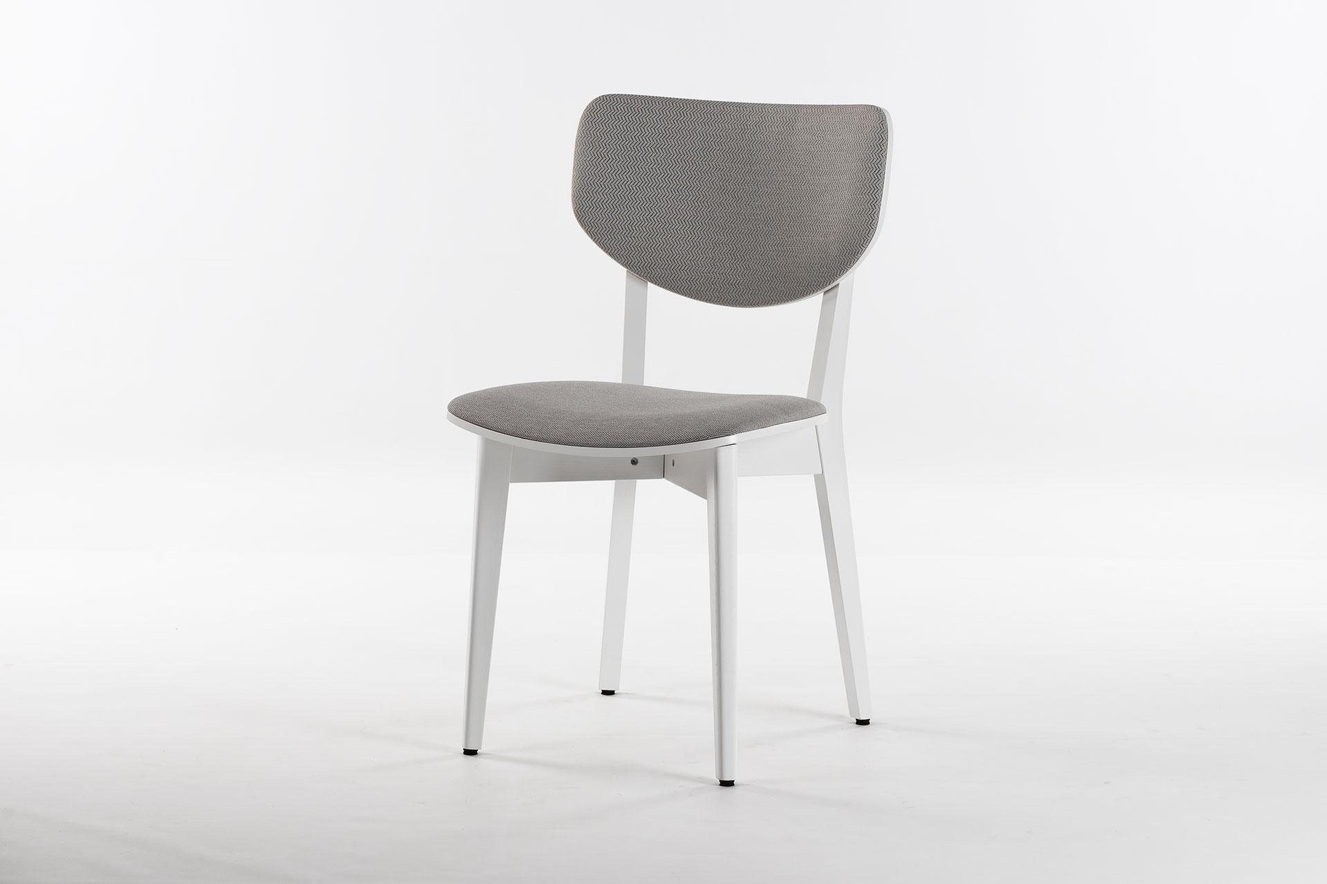 Деревянный кухонный стул 03А с белыми ножками и мягкой обивкой