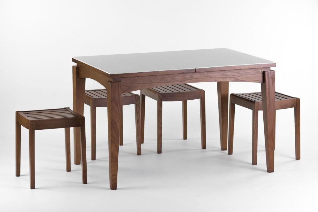 """Обідня група, кухонний комплект: кухонний стіл """"Бруклін"""" зі стільницею з штучного каменю + 4 табурети 01т з твердим сидінням"""