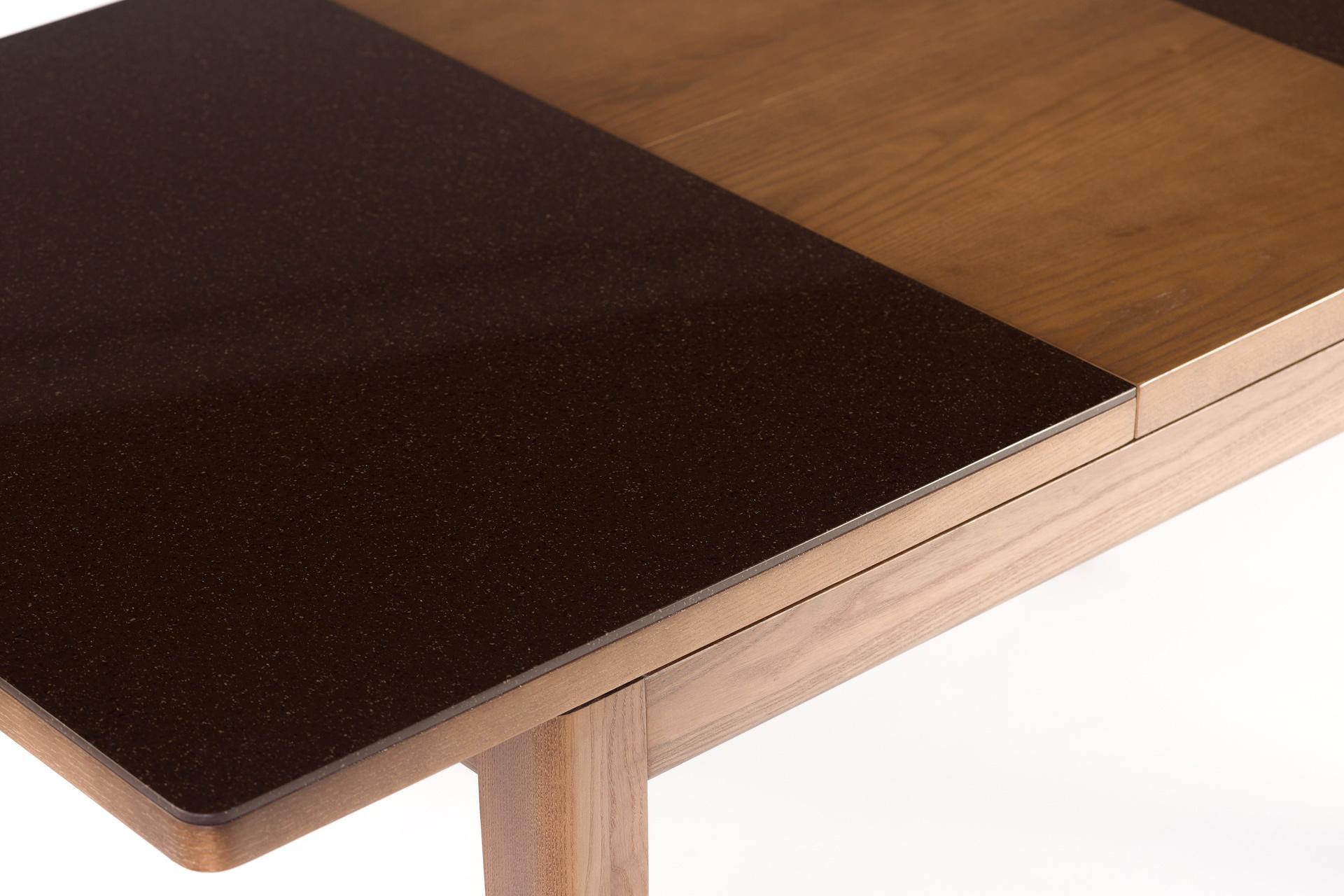 """Кухонный стол """"Фишер"""" с раскладной каменной столешницей со вставкой"""