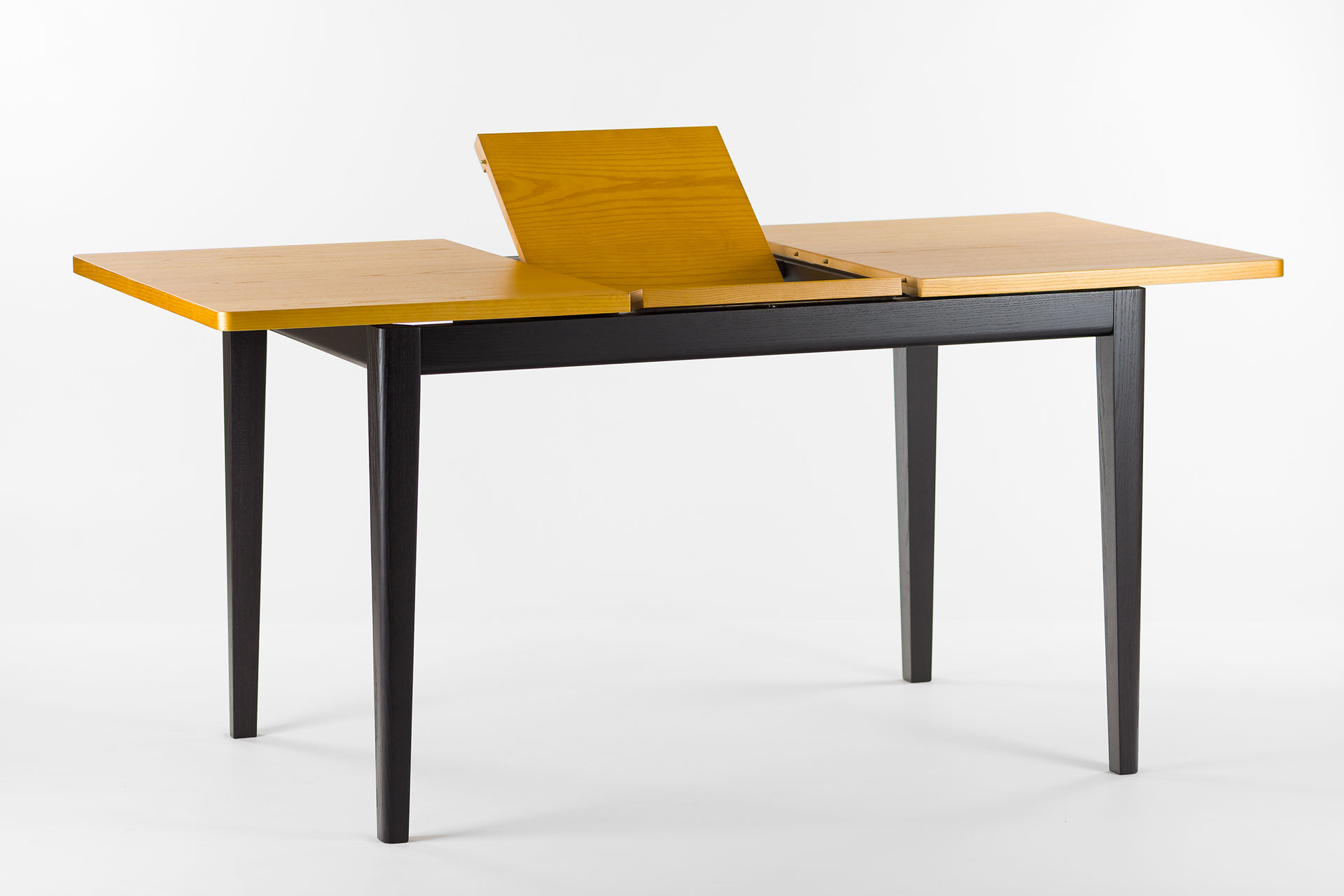 """Раскладной, прямоугольный кухонный стол """"Фишер"""" с черным каркасом и тонированной столешницей, механизм раскладки"""