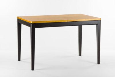 """Раскладной кухонный стол """"Фишер"""" с черным каркасом и тонированной столешницей. Из твердого дерева."""