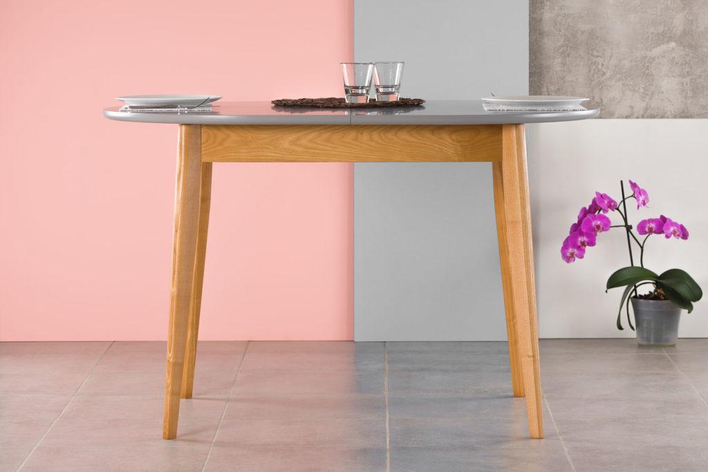 """Раскладной кухонный стол """"Турин-овал"""" - серая столешница покрыта эмалью"""