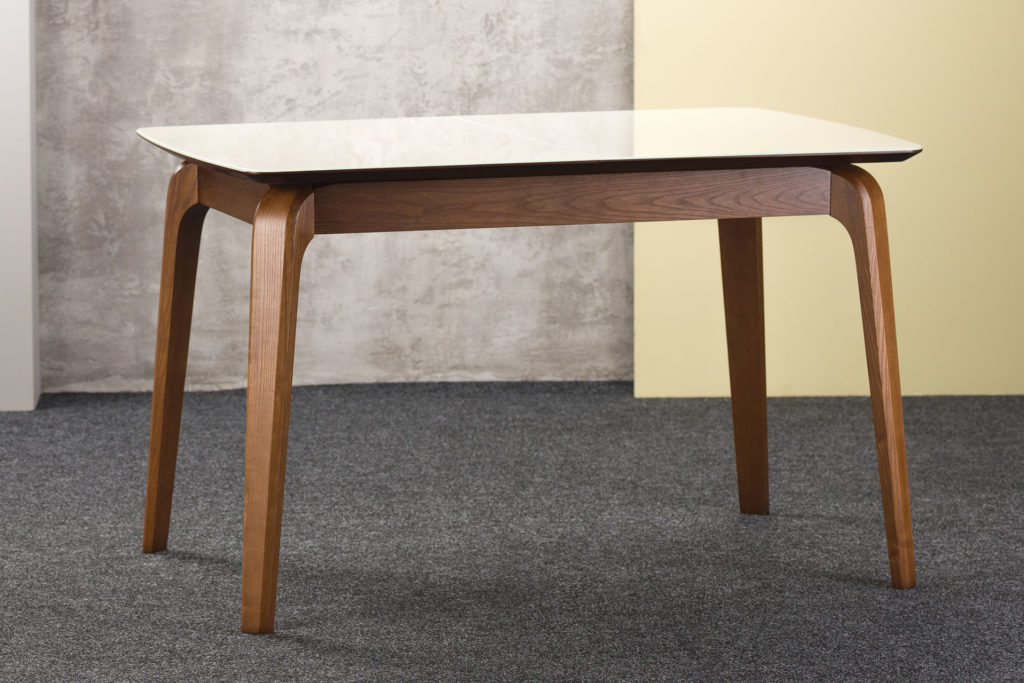 """Прямокутний кухонний стіл """"Спейс"""" з бежевою скляною стільницею (разкладний)"""