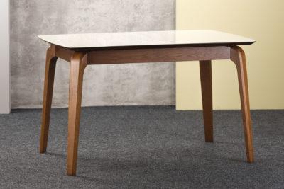 """Прямоугольный кухонный стол """"Спейс"""" с бежевой стеклянной столешницей (раскладной)"""