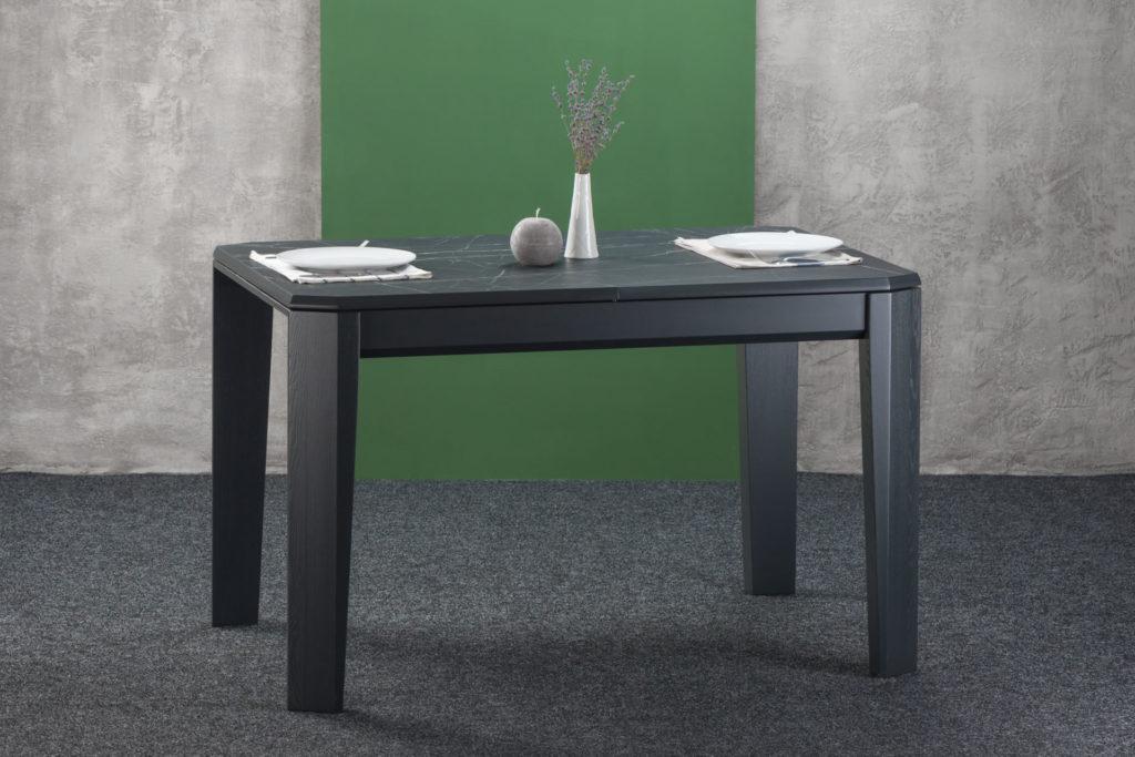 """Розкладний кухонний стіл """"Варгас"""" графітового кольору з розкладною HPL-стільницею, камінь П`єтра Гріджиа"""