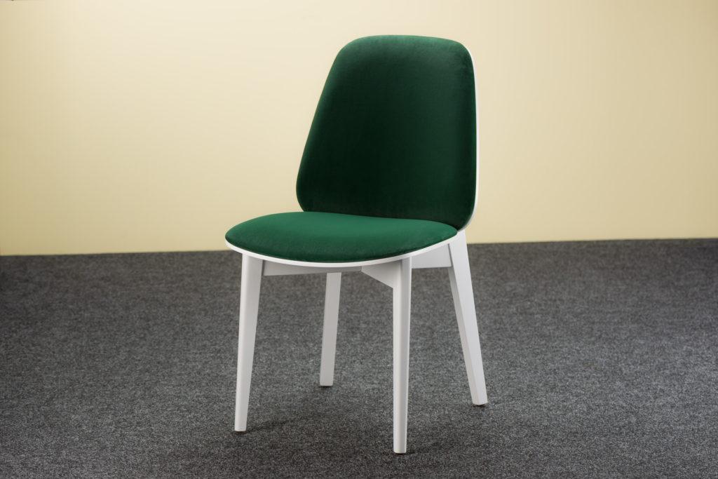 """Кухонный стул """"Пломбир"""" белого цвета с зеленой велюровой обивкой"""