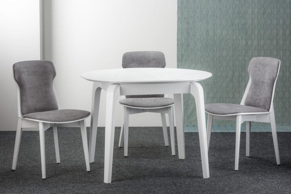 """Кухонный комплект: круглый стол """"Спейс"""" HPL-столешница + 4 стула """"Леман"""", серая обивка с рогожки"""