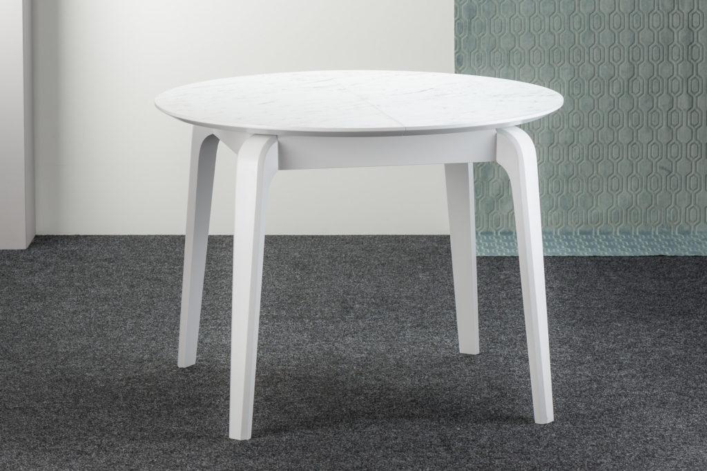"""Білий круглий стіл """"Спейс"""", розкладна HPL-стільниця (F204-ST75 Білий Мармур Каррара)"""