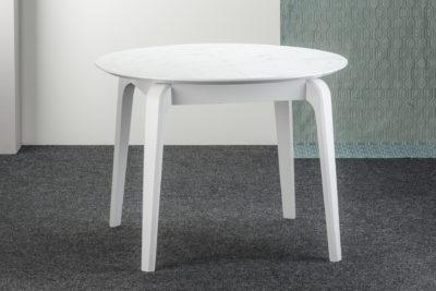 "Белый круглый стол ""Спейс"", раскладная HPL-столешница (F204-ST75 Белый Мрамор Каррара)"