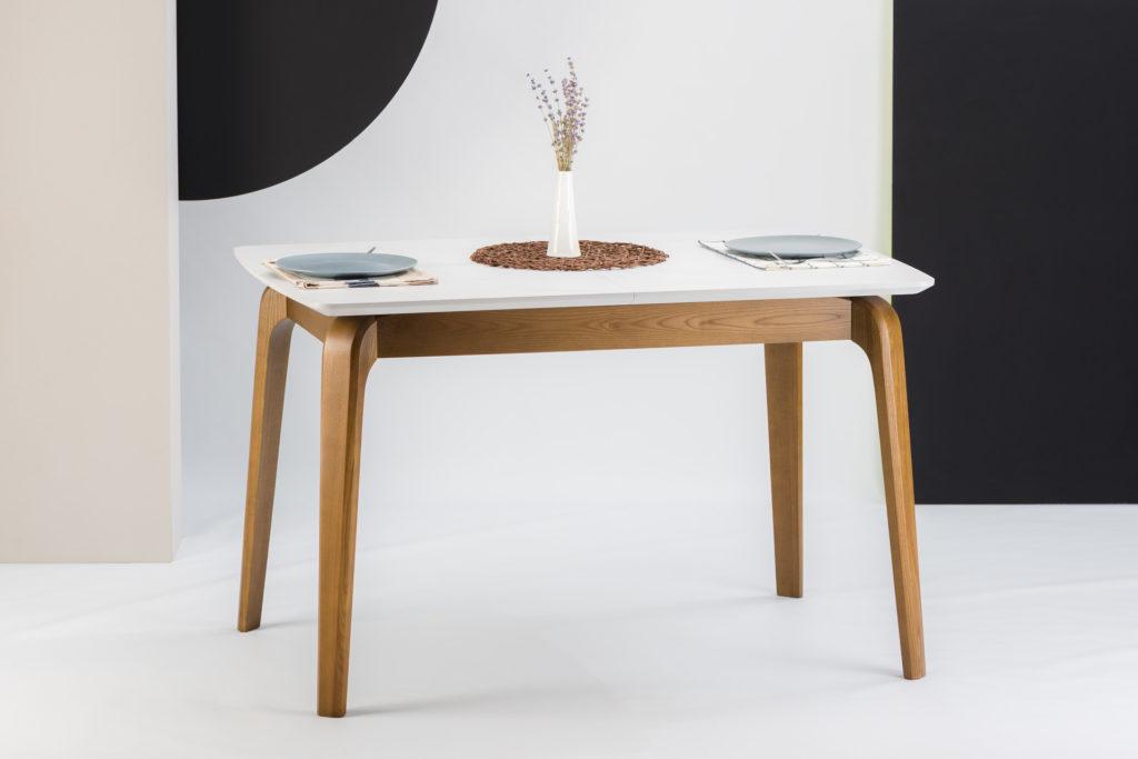 """Прямокутний кухонний стіл """"Спейс"""" розкладна HPL-стільниця (білий Мармур Леванте HPLF812 st9)"""