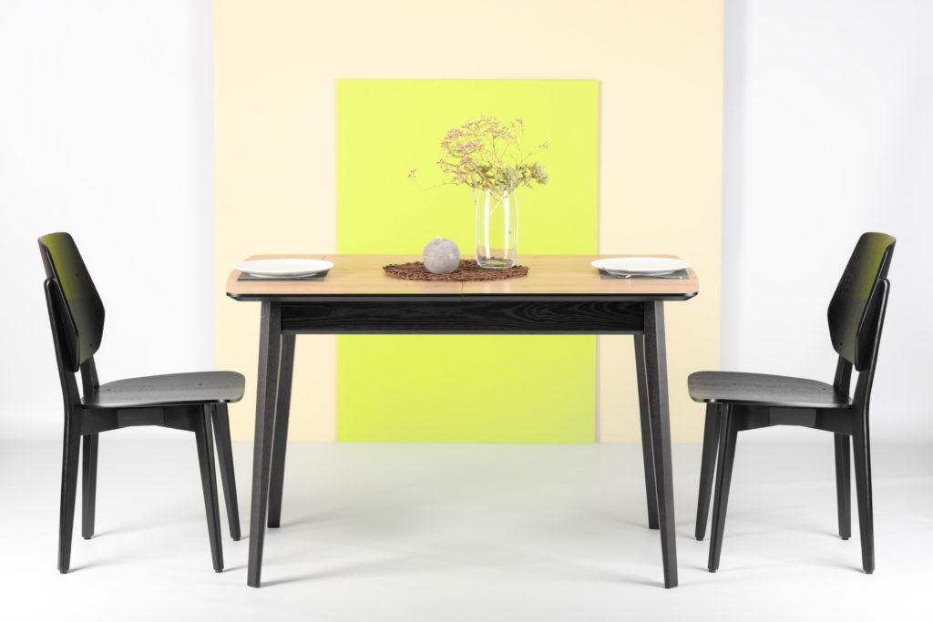 """Комплект: стіл """"Венті-орто"""": прямокутна HPL-стільниця + 4 стільця """"03ВТ"""" з твердим сидінням і спинкою"""