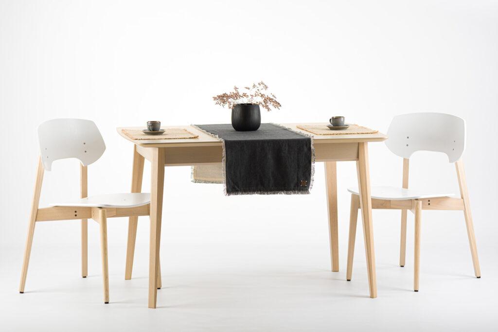 """Комплект: прямокутний стіл """"Венті-орто"""" шпонована стільниця + 4 стільця """"Корса"""" з твердим сидінням і спинкою • OLEKSENKO Столи і Стільці •"""