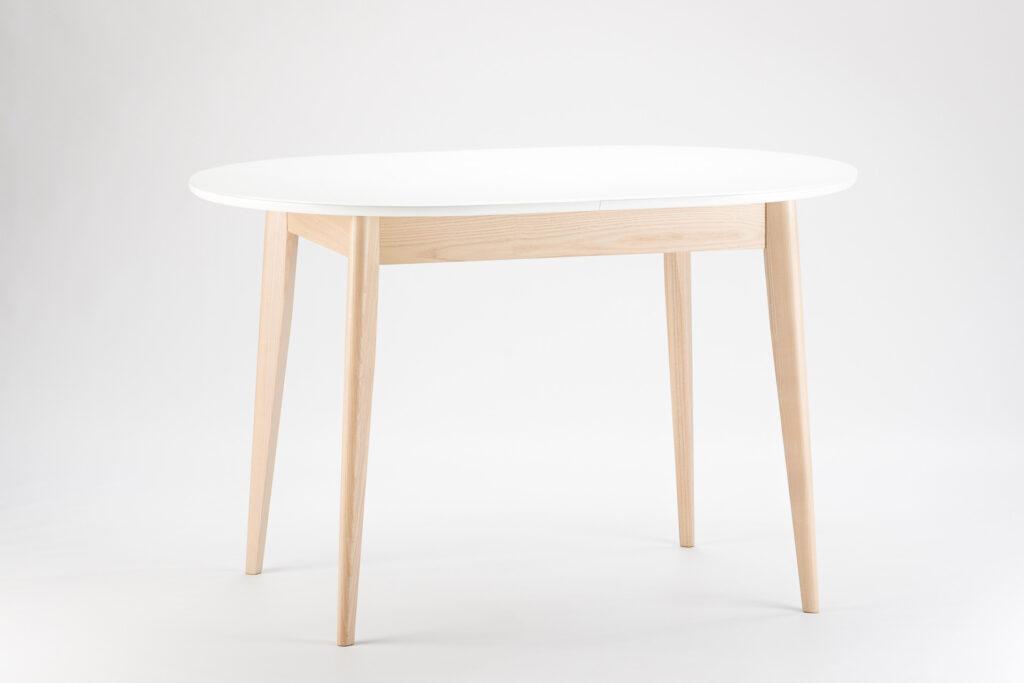 """Овальний кухонний стіл """"Турін-оновлений"""" - біла скляна стільниця 9003 • OLEKSENKO Столи та Стільці •"""