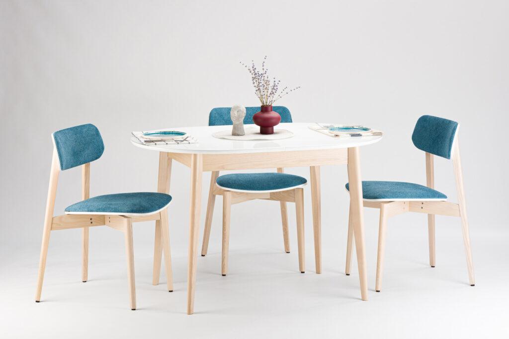 """Комплект: стіл """"Турін-оновлений"""" - біла скляна стільниця + 4 стільці """"Корса X"""" з м'якою оббивкою Fabric Lab Colt 14 • OLEKSENKO Столы и Стулья •"""